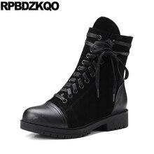 Круглый носок ботильоны марочный военные короткая берцы черный 2017 ботинки низком каблуке осень Дизайнерская обувь женская роскошь армия замша зашнуровать новый китайский мода женский