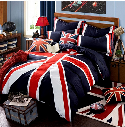 Free shipping 100%cotton 4pcs British style Union Flag bedding set for adult full/queen/king size the Union Jack home textile