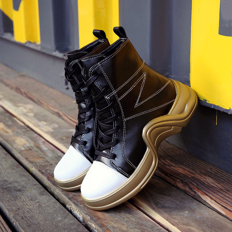 3cff238d432 Aliexpress.com : Buy ADBOOV Autumn New High Top Sneakers Women Lace Up  Fashion Ankle Boots PU Leather Street Casual Shoes Ladies Calzado Mujer  from Reliable ...