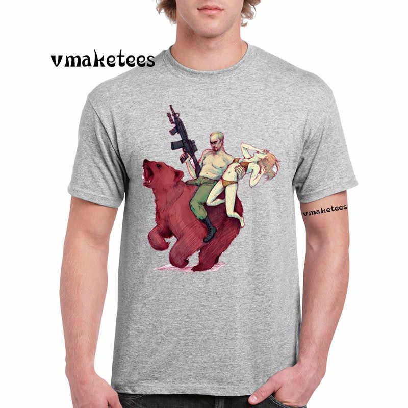 Putin Naik Bear T-shirt O-neck Lengan Pendek Musim Panas Kasual Rusia Pro Kitty Uni Soviet Tshirt GMT4294