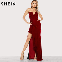 SHEIN Sexy Party Dress Deep V Neck Strapless Long Dress High Waist Red Sweetheart Ruffle Accent