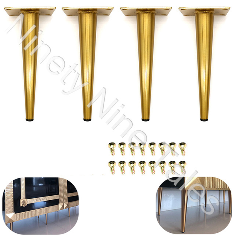 4Pcs/Set 20CM Furniture Cabinet Metal Legs Kitchen Tall Sleek Tapered Leg, Brushed Nickel Finish, With Mounting Screw