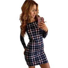 Women Slim Striped Dress Skinny Tartan Round Neck Knit Plaid Printed Pencil Mini Dress Female Party Dress
