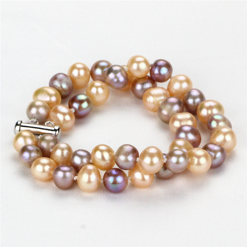 SNH 9mm AA- mixed color potato 2 rows pearl bracelet 7.5'' cultured natural freshwater bracelet free shipping