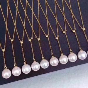 """Image 3 - 8 9 מ""""מ Akoya פניני 18 k זהב רב תכליתי תליון שרשרת גבוהה ברק פניני תכשיטים לנשים גבירותיי אמא בנות מתנה"""