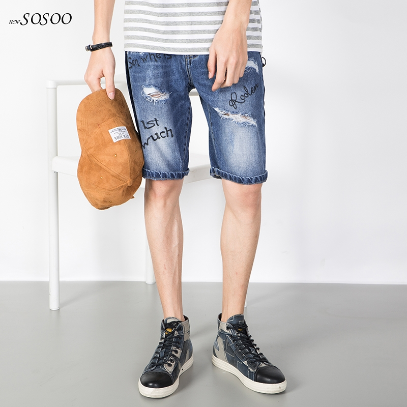 2018 spring summer new men jeans 100% Cotton knee length ripped letter printing classic fashion mans jeans size 28-36 #D081