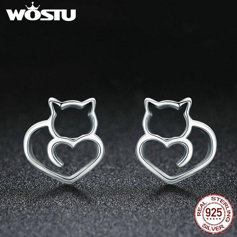 WOSTU Genuine 925 Sterling Silver Cute Heart Shape Animal Cat Stud Earrings For Women Fine Jewelry Accessories Gift BKE271