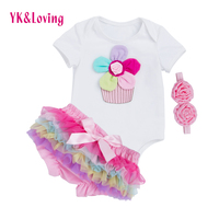 Retail New Girls Baby Clothing Children Wear Short Sleeve Pink Blue Star Baby Rompers Tutu Skirt
