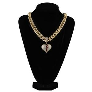 Image 4 - Buzlu Out kalp kolye & kolye 14mm genişlik büyük küba zincir altın gümüş renk kübik zirkon erkek kadın Hip hop takı