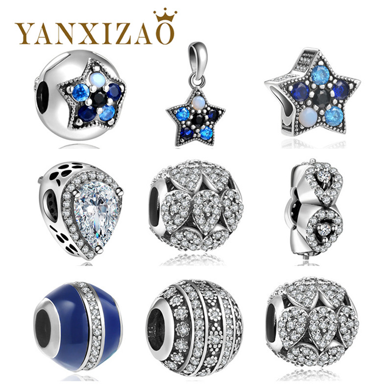 a99c305a8 Yanxizao 925 Silver European CZ Hollow Isolation Beads Fit Original Pandora  Charms Bracelet Pendant Necklace DIY