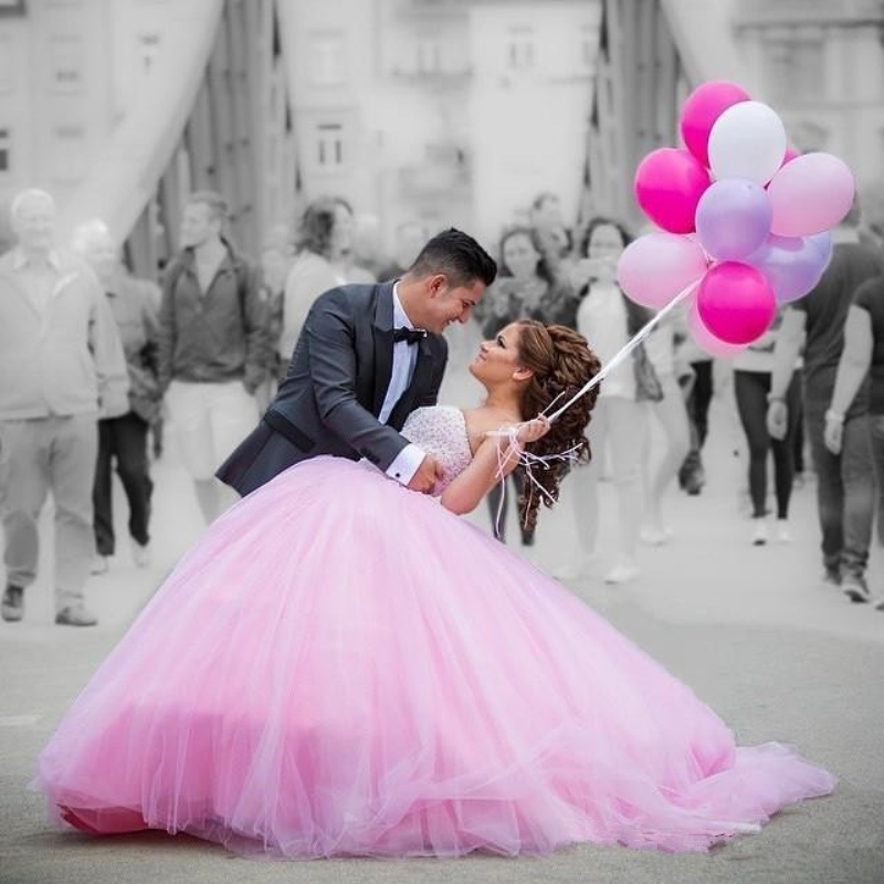 Hot Pink Wedding Dresses With Beads Rhinestones Bridal Gowns ...