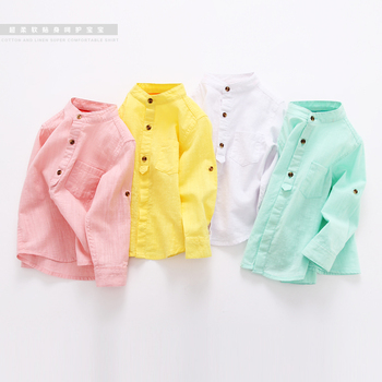 2017 spring children shirts cotton linen long-sleeve baby boys clothes Chinese style solid color casual tops wear kids shirts