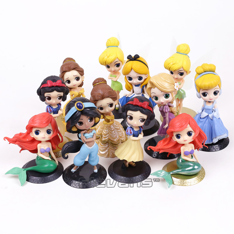 Cartoon Q Posket Snow White Princess Alice Mermaid figure Alice in Wonderland Ariel Cinderella Belle Tangled Rapunzel Doll Toys 11pcs set disney princess toys cinderella belle mermaid ariel sofia snow white fairy rapunzel action figures disney doll gift