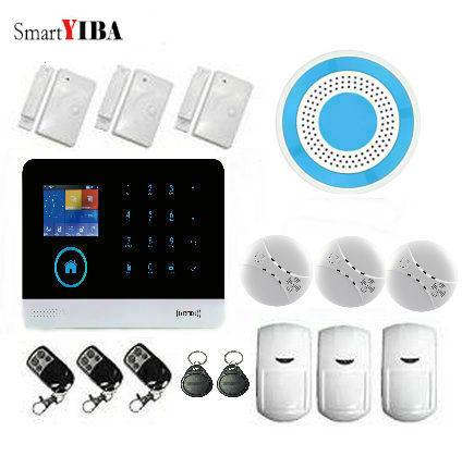SmartYIBA WIFI WCDMA/CDMA Alarm SMS APP controlled 3G Home Security Alarm With Wireless Flash Siren Smoke/Fire Alarm