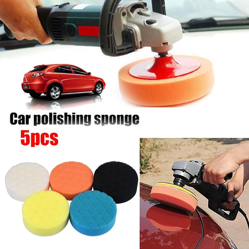 "6/""//7/"" Car Polishing Waffle Sponge Pads Buffing Waxing Car Care Cleaning Set 5Pcs"