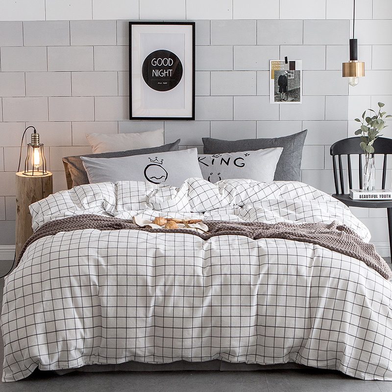 100% Washed Cotton Bedding Sets Black Plaid Simple and Comfortable Queen/king Size Design for Teenagers and Adults