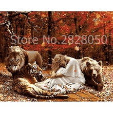 Buy Beauty With Tiger Lion Bear Picture By Numbers M online