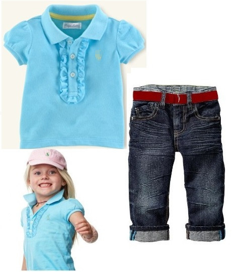 2013 New Baby girls POLO blue T-shirt + Long jeans suit children girl top trousers sets two-piece age 2-7T 6set/lot
