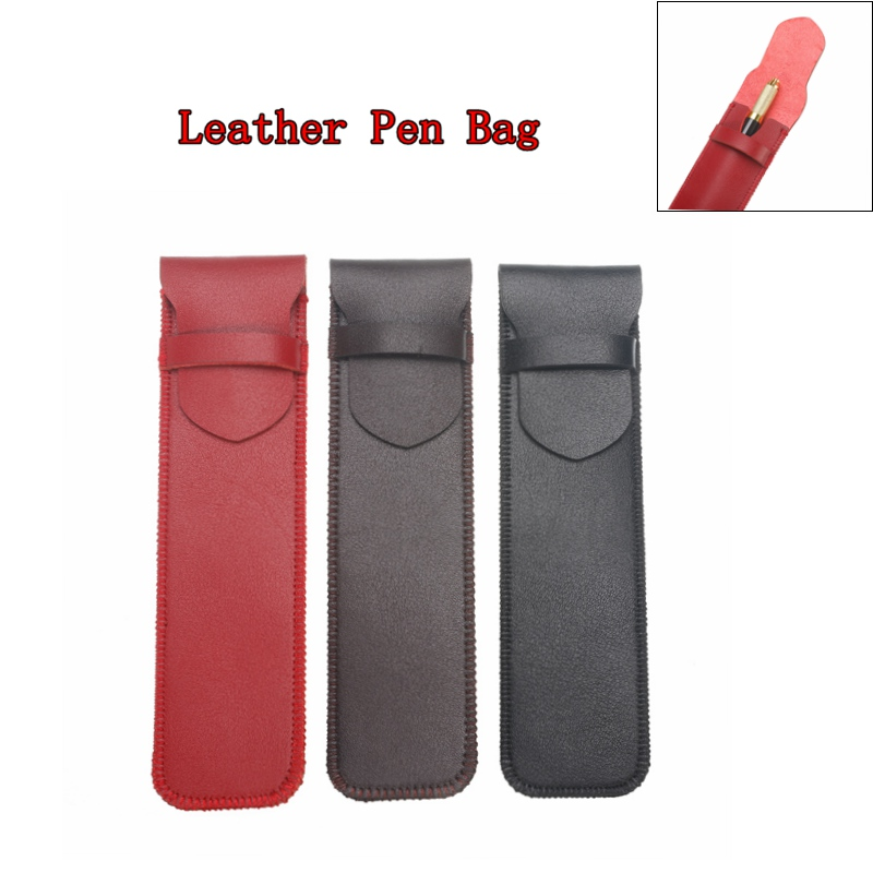 16X6/3.3Cm Genuine Pencil Bag Leather Cowhide Fountain Pen Cases Cover Sleeve Pouch Office School Students Supplies