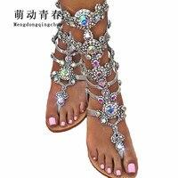 Hot Women Sandals 2018 Flip Flop Mid Calf Flat Heels Sandals Women Fashion Crystal Rhinestone Backle Strap Wedding Sandals