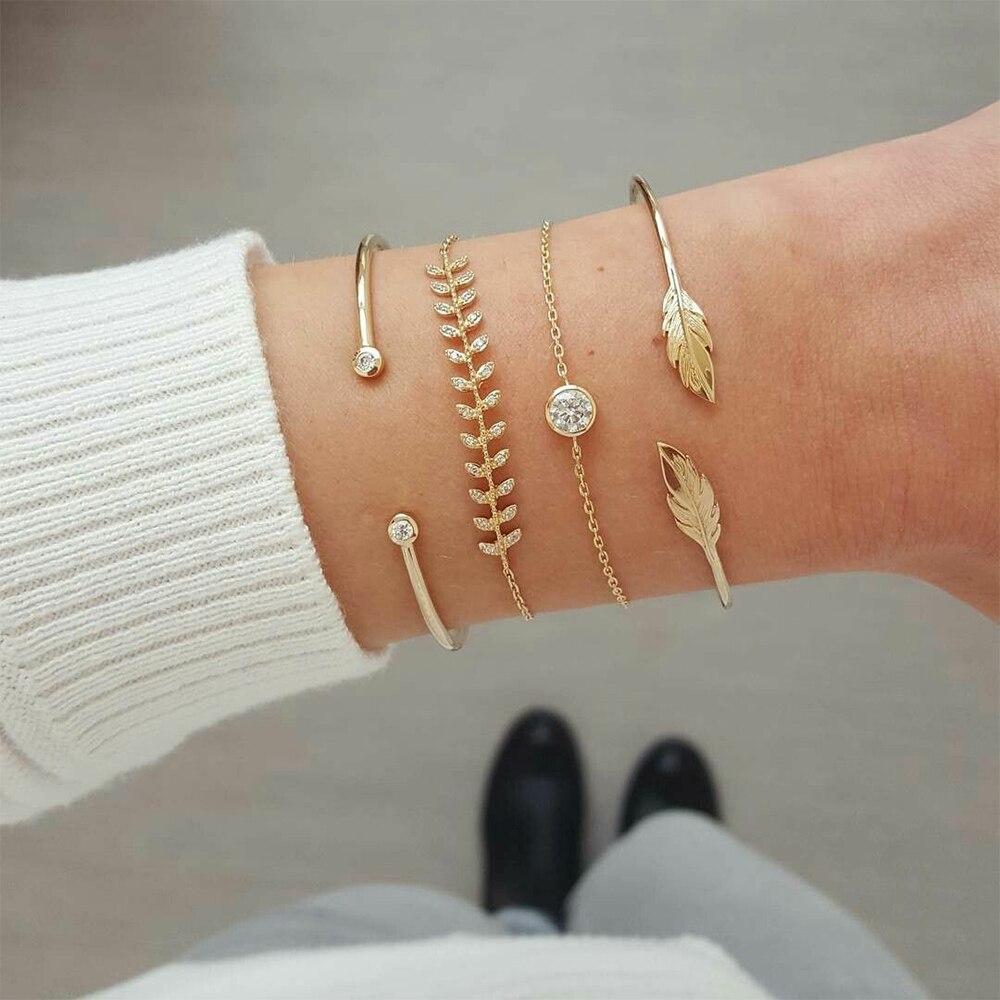4 Pcs set Women s Fashion Crystal Leaves Geometric Chain Gold Bracelet Set Bohemian KISS WIFE