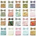 Men Fashion Cotton Flower Pocket Square Bowtie Set Wedding Handkerchief Bow Tie BWTYY0080