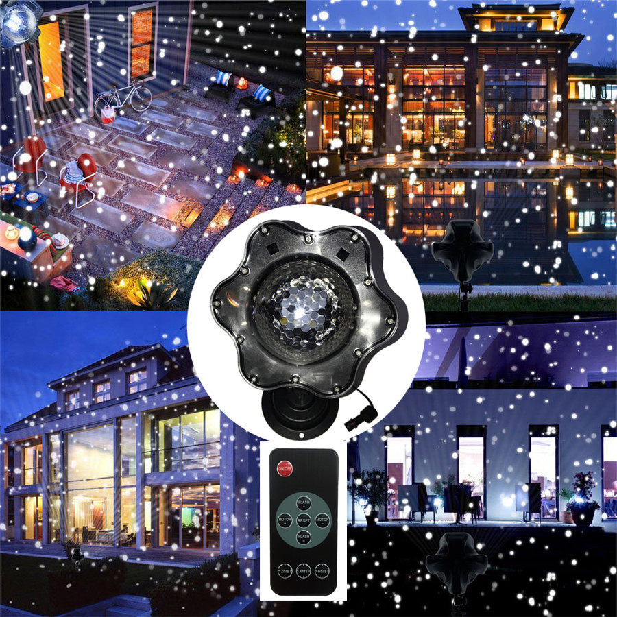 Thrisdar Upgrade Moving Snowfall Laser Projector Lamps Snowflakes Outdoor LED Stage Light For Christmas Party Landscape Garden zjright waterproof moving laser projector lamps snowflakes led stage christmas party garden outdoor floor indoor decor lighting