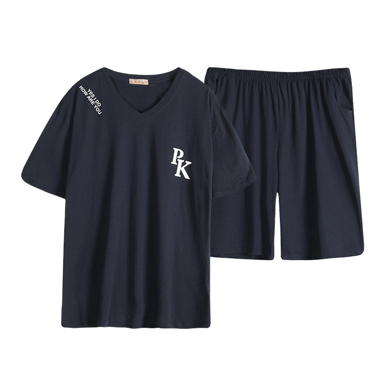New 140KG 5XL Short Pyjama Homme Plus Size Pajamas Sets Man Summer 100% Cotton Short Sleeve Cozy Sleepwear Pajama For Male XXXXL