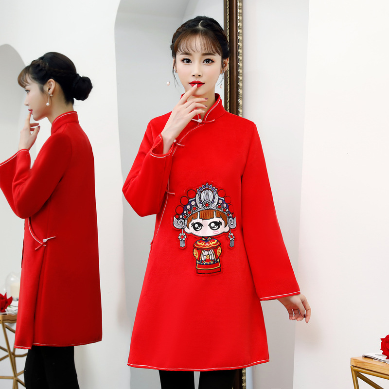 Mode 2018 genou longueur Cheongsam Vintage style chinois robe hiver femmes Qipao Slim robes de soirée bouton Vestido S-XXL