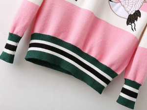 Image 5 - female casual stitching crane flower embroidery sweater