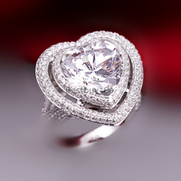 6 Carat SONA Synthetic Diamond Fashion Ring 925 Sterling Silver Ring Flash Peach Heart Shaped Ring