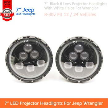 "1 Pair 7"" 60W Headlamp For Jeep Wrangler Car Headlight 7inch High Low Beam LED Work Light With White Halos Plug & Play"