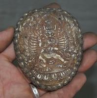 Свадебные украшения Редкие древнетибетский буддизм серебряный череп головы Mahakala миска произведение искусства Kapala кружка череп