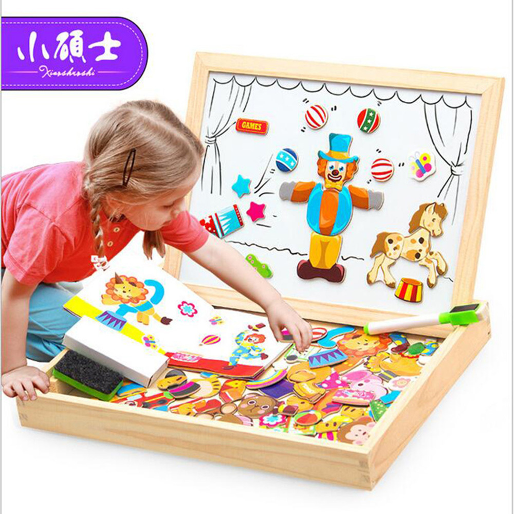 Xiaoshuoshi 3D Cartoon Animal Magnetic Puzzle Wooden Jigsaw Puzzle Toys Drawing Board Children Sketchpad Toys Gift mylb educational farm jungle animal wooden magnetic puzzle toys for children kids jigsaw baby s drawing easel board