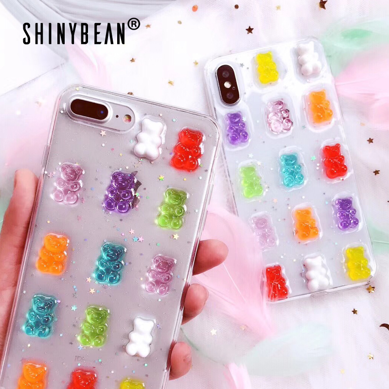 ShinyBean For IPhone X Case Cute 3D Gummy Bear Candy Color Soft Cases For IPhone X 6 6S 7 8 Plus XS Max XR Glitter TPU Cover