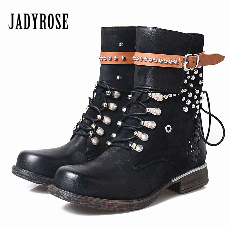 Jady Rose Vintage Black Ankle Boots for Women Rivets Studded Leather Martin Boot Autumn Winter Female Platform Rubber Boots