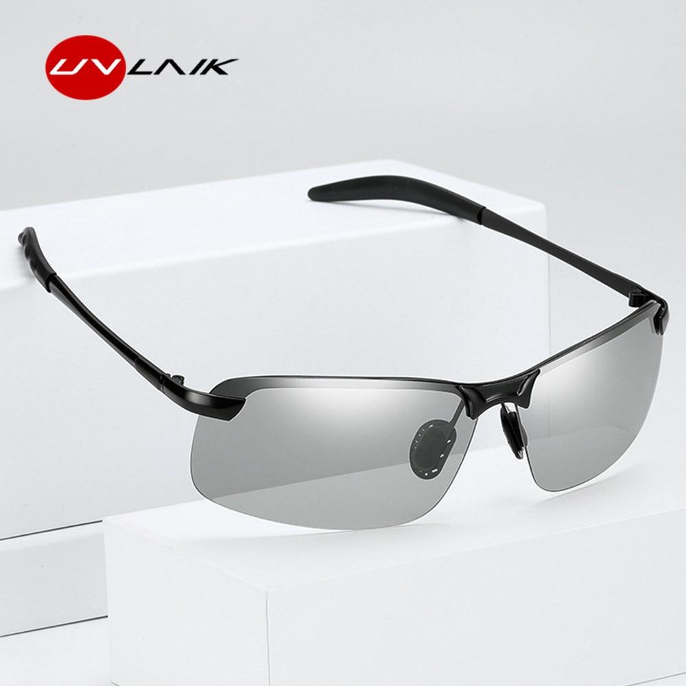 9d19aaaebdf36 UVLAIK Clássico Chameleon Descoloração Lentes Fotocromáticas Óculos De Sol  Dos Homens Polarizados Condução óculos de Sol
