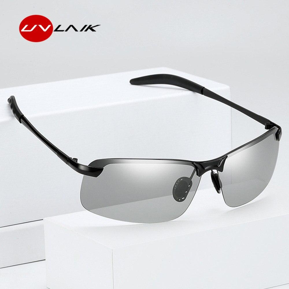 UVLAIK Classique Conduite lunettes de Soleil Photochromiques Hommes Polarisées Caméléon Décoloration Soleil lunettes pour hommes Anti-éblouissement Lunettes 3043