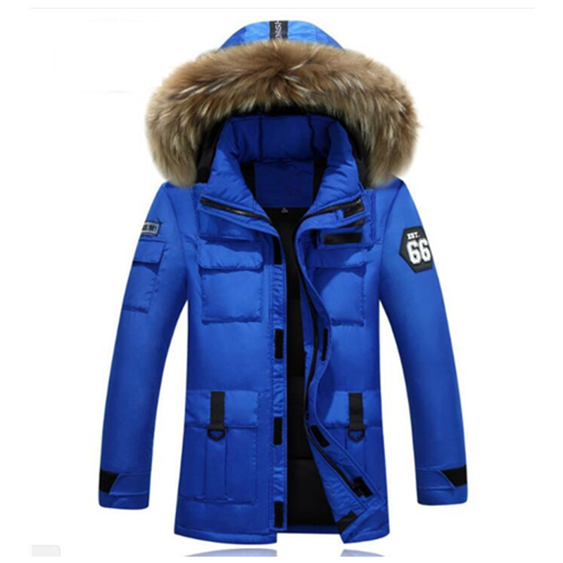 New Winter Parkas Thicken Warm Casual Fur Collar Hooded Mens Jackets Winter Coat Men White Duck Down Outerwear Jacket