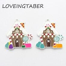 Newest 42mm*40mm 10pcs /lot Full Enamel Christmas Gingerbread House Pendant For Kids