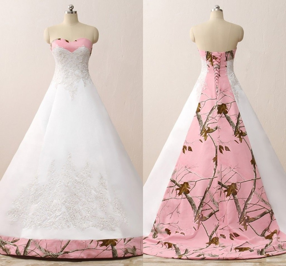 Weddings & Events Ilovewedding Ball Gown White Camo Wedding Dresses Sleeveless Sweetheart Lace Up Camouflage Embroidery Sequined Bridal Gowns Products Are Sold Without Limitations