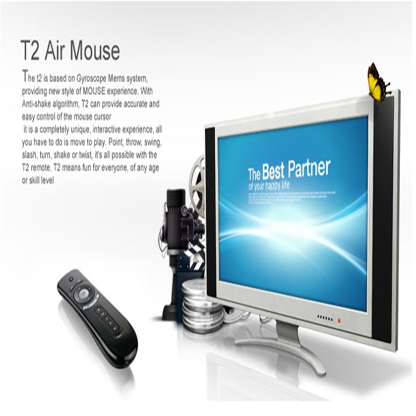 Best Price 2.4GHz Air Mouse MF100 (T2) Gyro Sensing Wireless Keyboard for Android TV Box PC