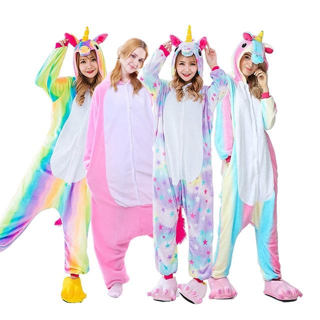 Для взрослых животных единорог пижамы комплект панда мультфильм Кигуруми  для женщин мужчин зимние унисекс фланель стежка c3224d6d9dc2b