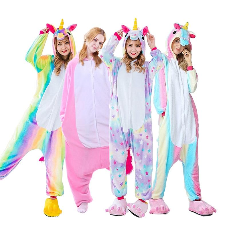 Los adultos Animal conjunto de pijamas de Panda de dibujos animados pijama de las mujeres de los hombres de invierno Unisex de punto pijamas unicornio ropa de dormir