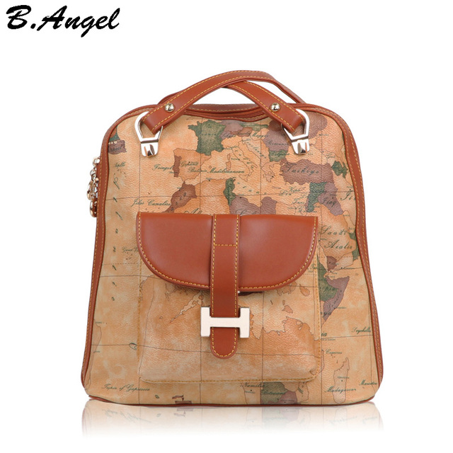 New fashion vintage high quality world map backpack women bag new fashion vintage high quality world map backpack women bag backpack women shoulder bag leather backpack gumiabroncs Gallery