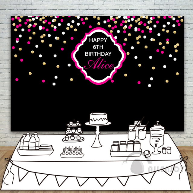Birthday Backdrops Baby Shower Background Black Wall Gold