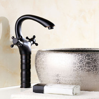 Hign Oil Rubbed Bronze Bathroom Faucet Black Color Basin Sink Mixer Tap Roman Style Deck Mounted