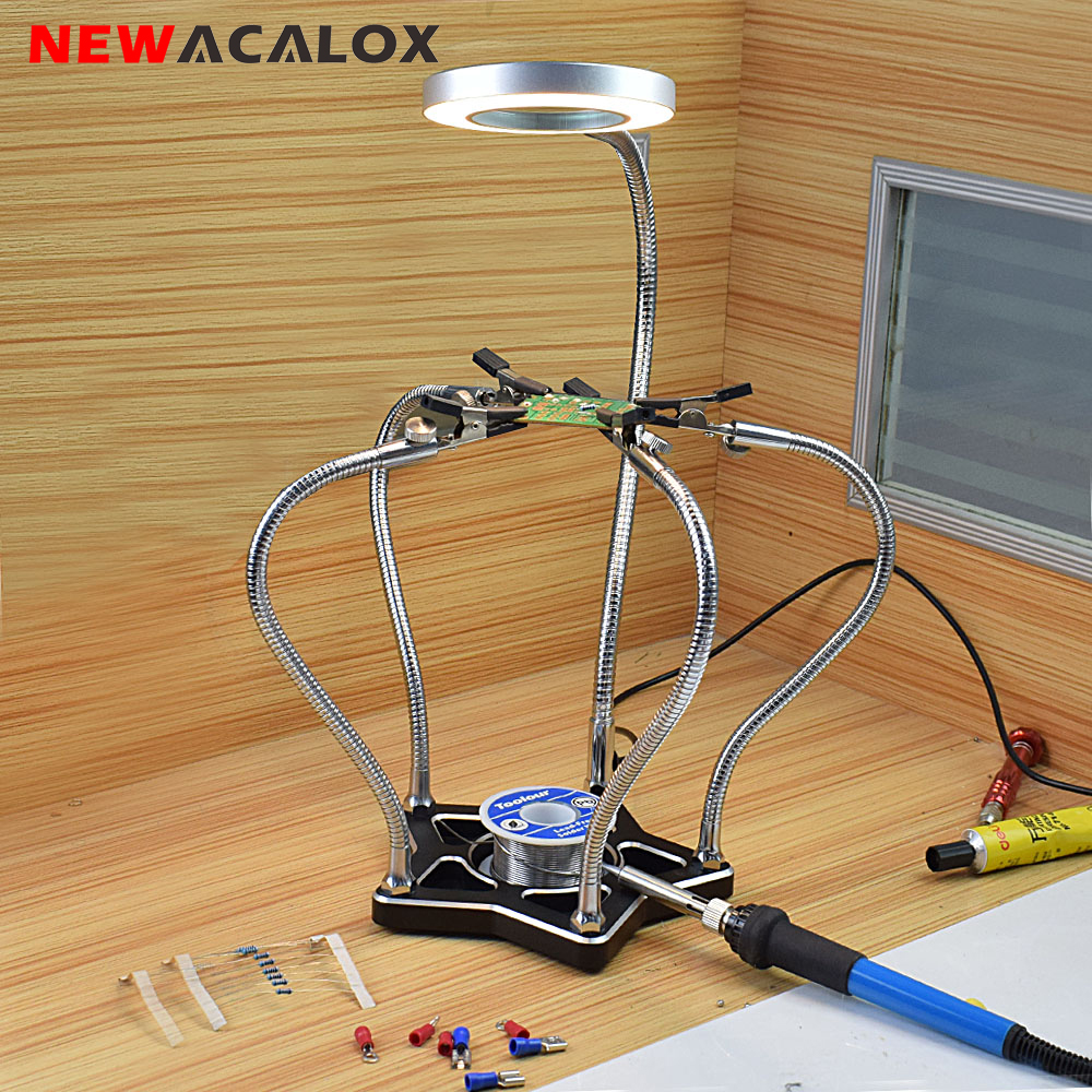 NEWACALOX Third Hand Soldering Iron Holder with 5pc Helping Hands Soldering Station LED Magnifier for Electronic Repair WeldingNEWACALOX Third Hand Soldering Iron Holder with 5pc Helping Hands Soldering Station LED Magnifier for Electronic Repair Welding