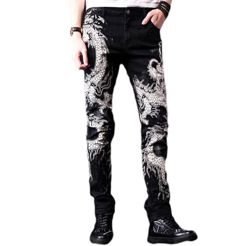 Fashion Dragon Printed Denim   Jeans   Men Casual Spring Summer Slim Black Painted Straight Pants Cool Streetwear Male Long Trousers