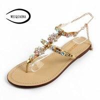 WEIQIAONA 2018 New Big Size 34 47 Bohemian Summer Women Sandals Bling With Rhinestone Flowers Flats